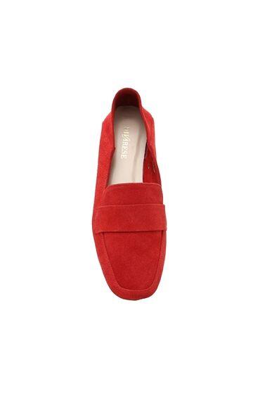 Kırmızı Süet Kadın Loafer