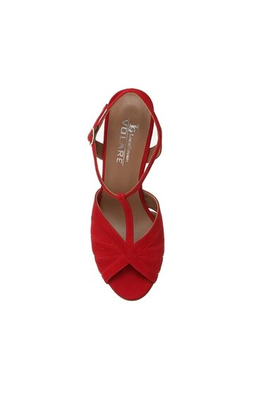 Süet Kırmızı Kadın Sandalet