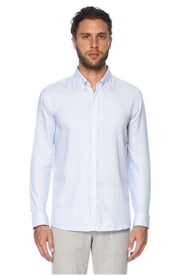 Mikro Slım Fit Mavi Beyaz Gömlek