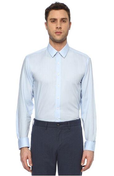 Armürlü Açık Mavi Gömlek