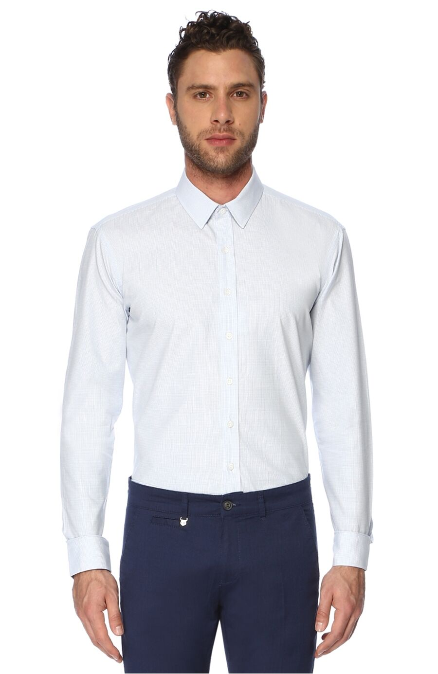 Mikro Slım Fit Beyaz Mavi Gömlek