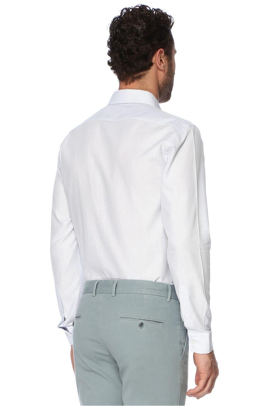Mikro Slım Fit Beyaz Lacivert Gömlek