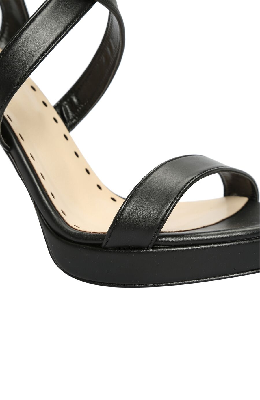 Platformlu Suni Deri Siyah Sandalet