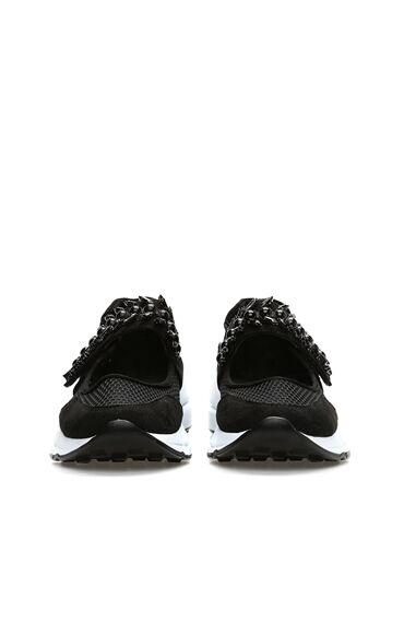 Taşlı Siyah Kadın Sneaker