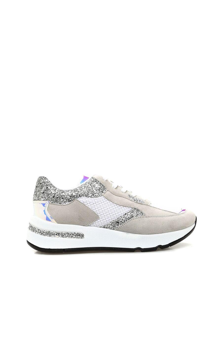 Süet Gri Beyaz Kadın Sneaker