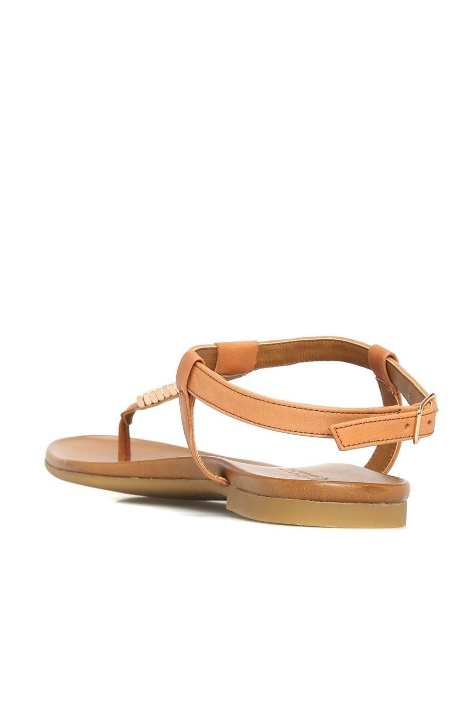 Taba Taşlı Kadın Deri Sandalet