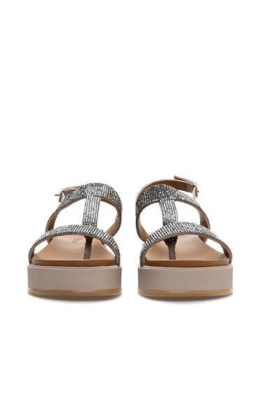 Gri Taş İşlemeli Kadın Sandalet