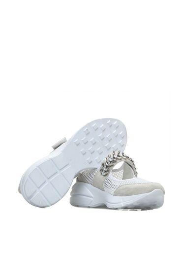 Taşlı Gri Beyaz Kadın Sneaker
