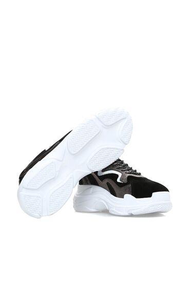Süet Siyah Antrasit Kadın Sneaker