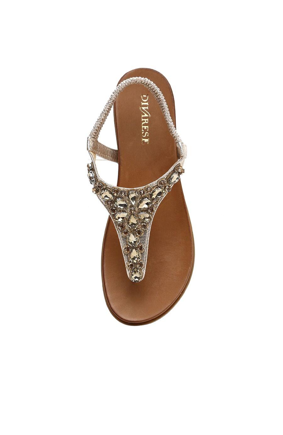 Taşlı Altın Kadın Sandalet