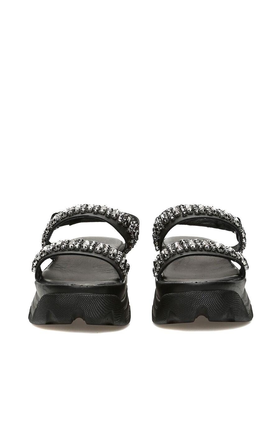 Taşlı Siyah Kadın Sandalet