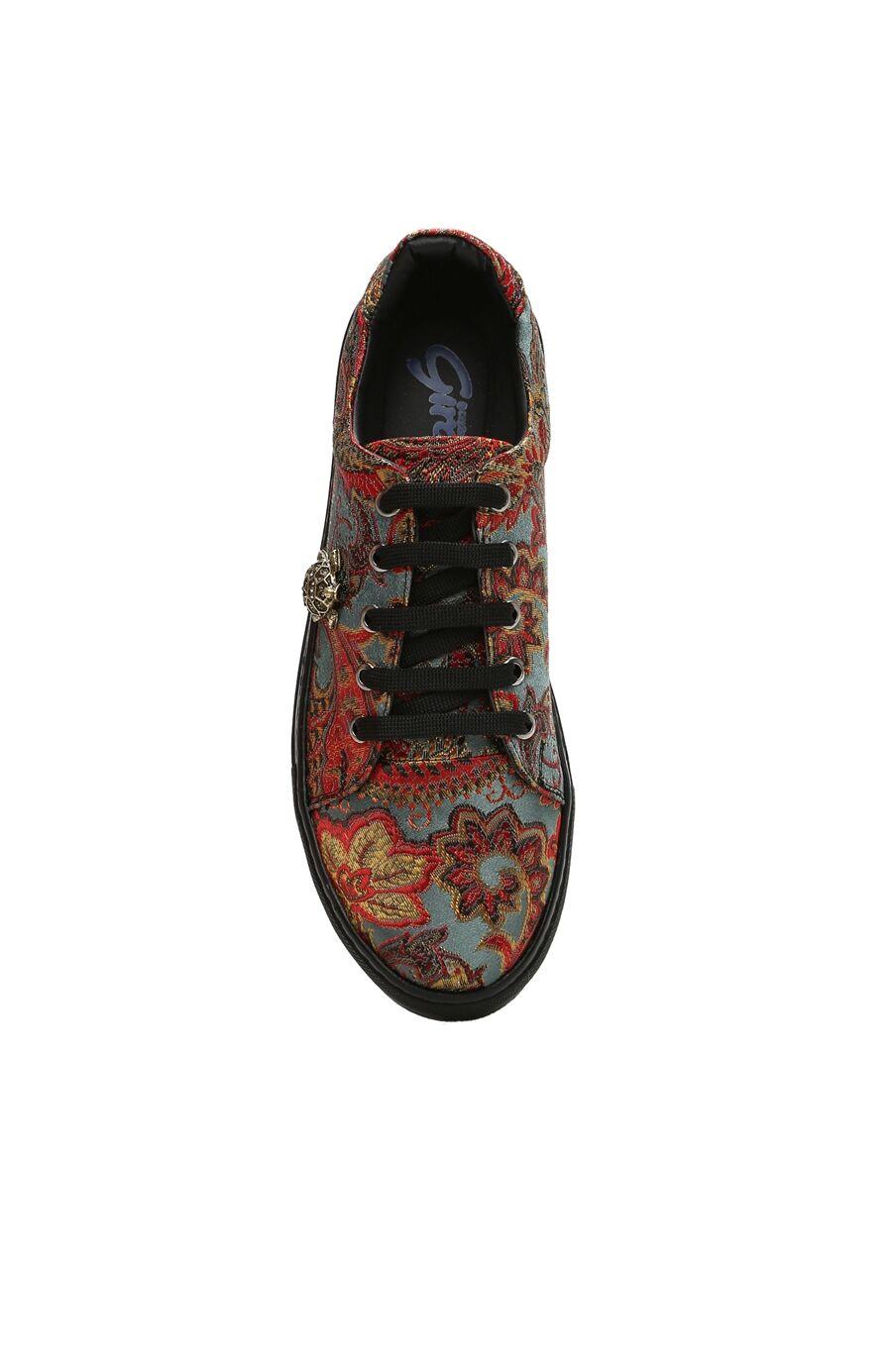 Çiçekli Mavi Desen Sneaker