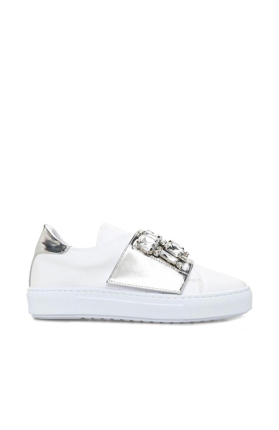 Taşlı Beyaz Kadın Sneaker