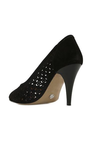 Delikli Siyah Kadın Stiletto