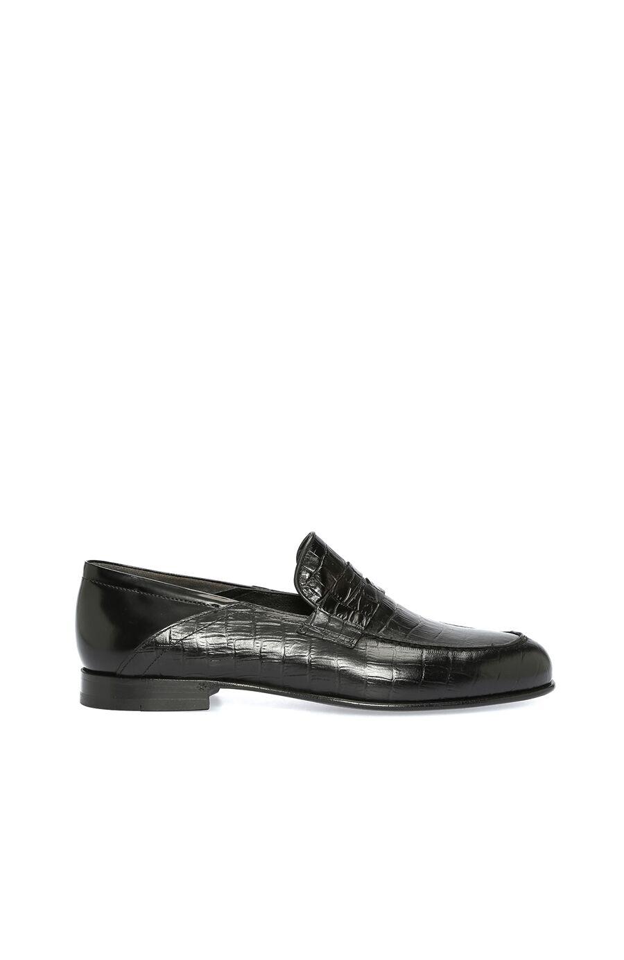 Kroko Siyah Erkek Loafer