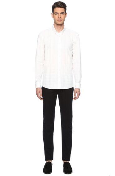 Ekose Slim Fit Beyaz Gömlek