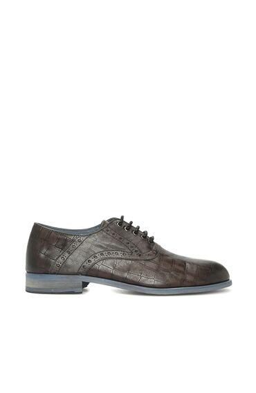 Kroko Desenli Antrasit Erkek Ayakkabı