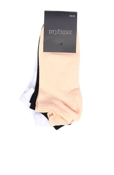 Beyaz Lacivert 3lü Kadın Çorap Set