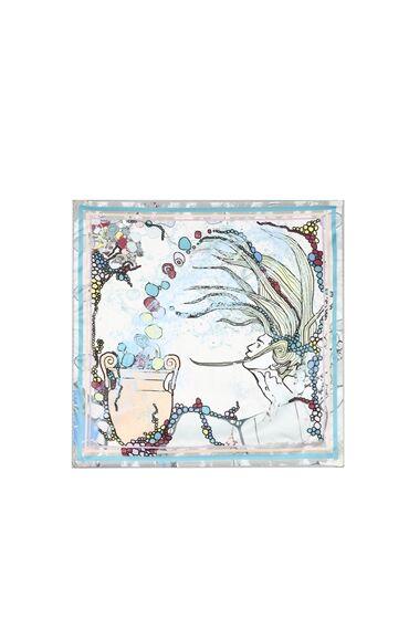 Kova Burcu Desenli Mavi Kadın Fular
