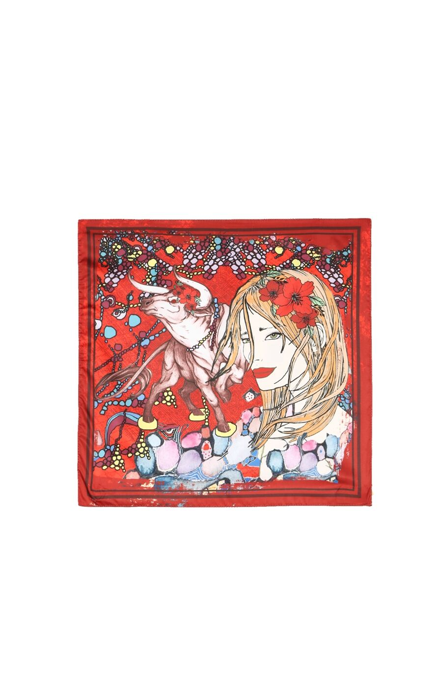Boğa Burcu Desenli Kırmızı Fular