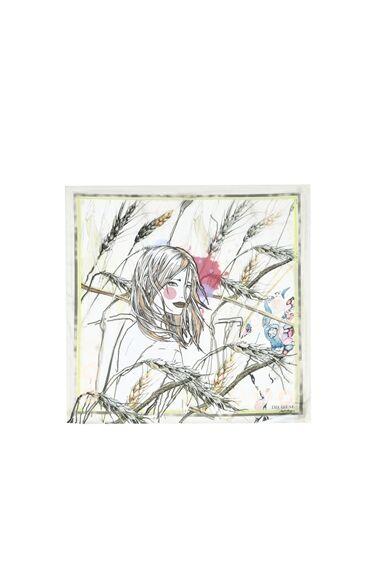 Başak Burcu Desenli Bej Kadın Fular