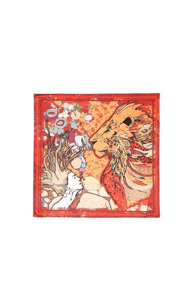 Aslan Burcu Desenli Kırmızı Fular