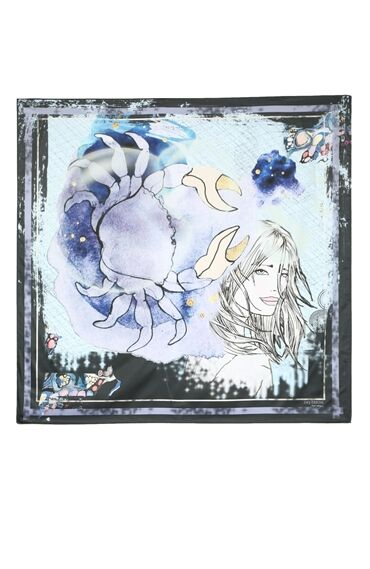 Yengeç Burcu Desenli Lacivert Kadın Şal