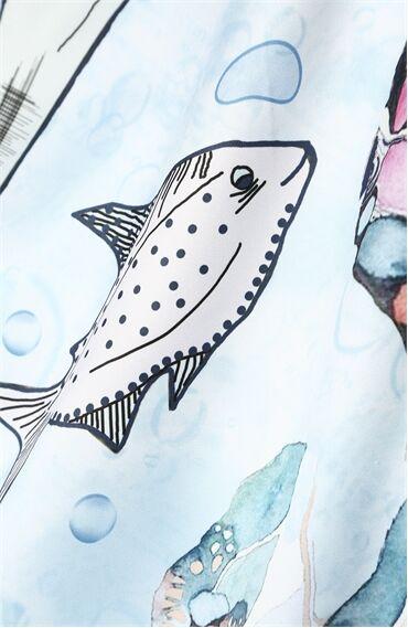 Balık Burcu Desenli Mavi Şal