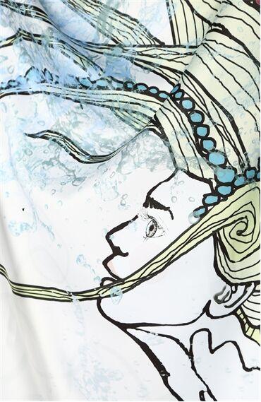 Kova Burcu Desenli Mavi Kadın Şal