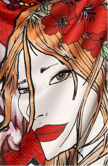 Boğa Burcu Desenli Kırmızı Şal