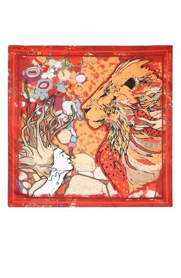 Aslan Burcu Desenli Kırmızı Şal