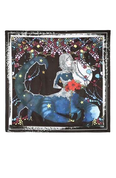 Akrep Burcu Desenli Lacivert Kadın Şal