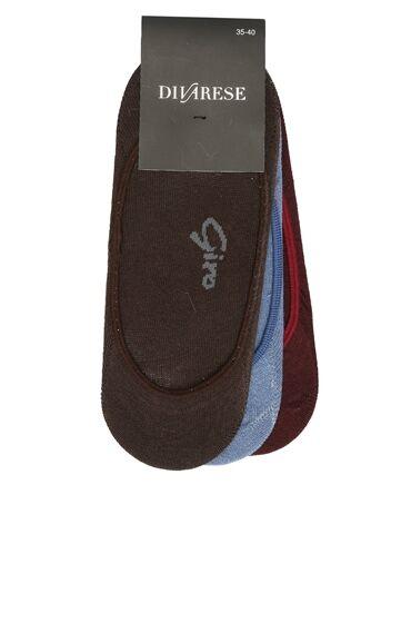 Bordo - Kahverengi 3'Lü Kadın Çorap Set