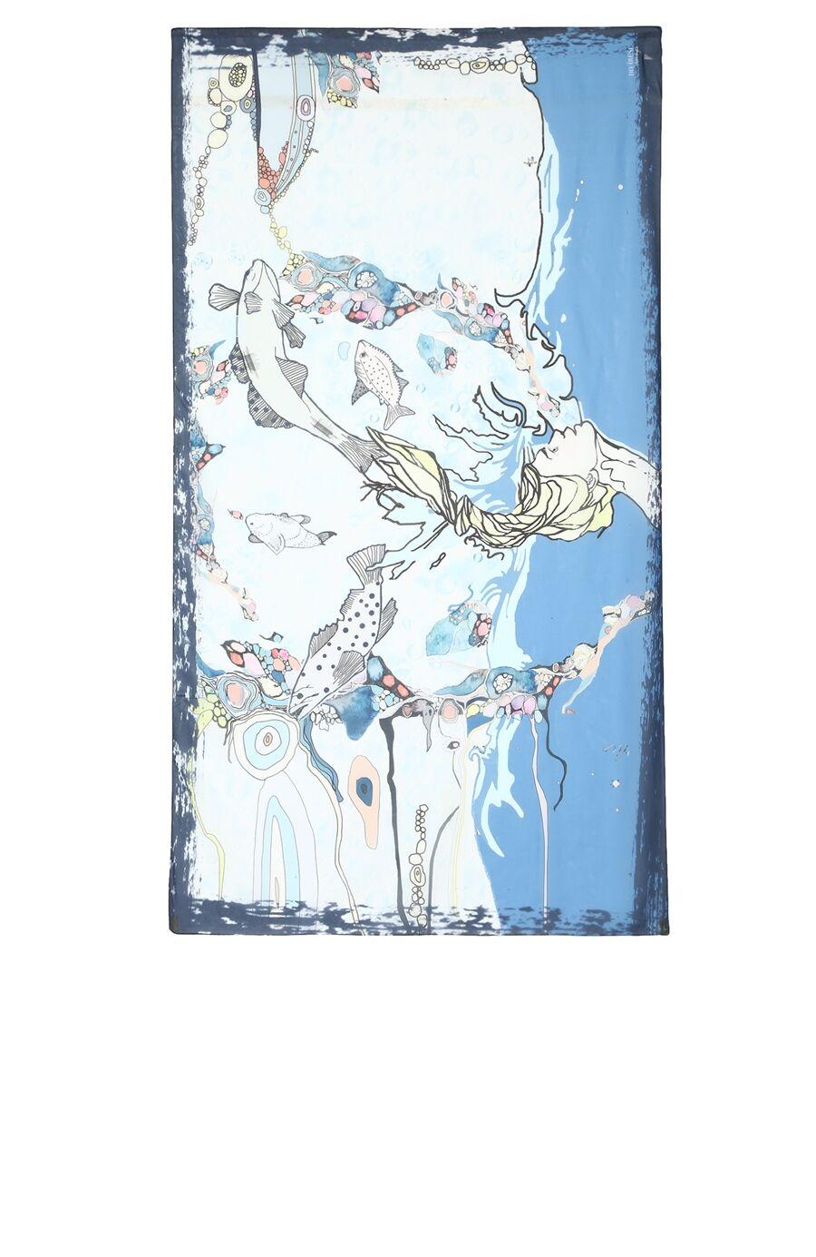 Balık Burcu Desenli Mavi Pareo