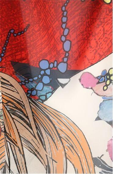 Boğa Burcu Desenli Kırmızı Pareo
