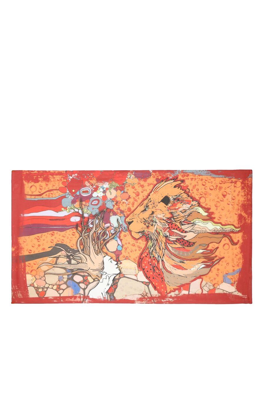 Aslan Burcu Desenli Kırmızı Pareo