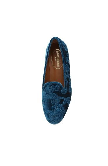Kadife Mavi Kadın Ayakkabı