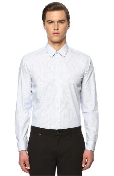 Çizgili Lacivert-Beyaz Gömlek