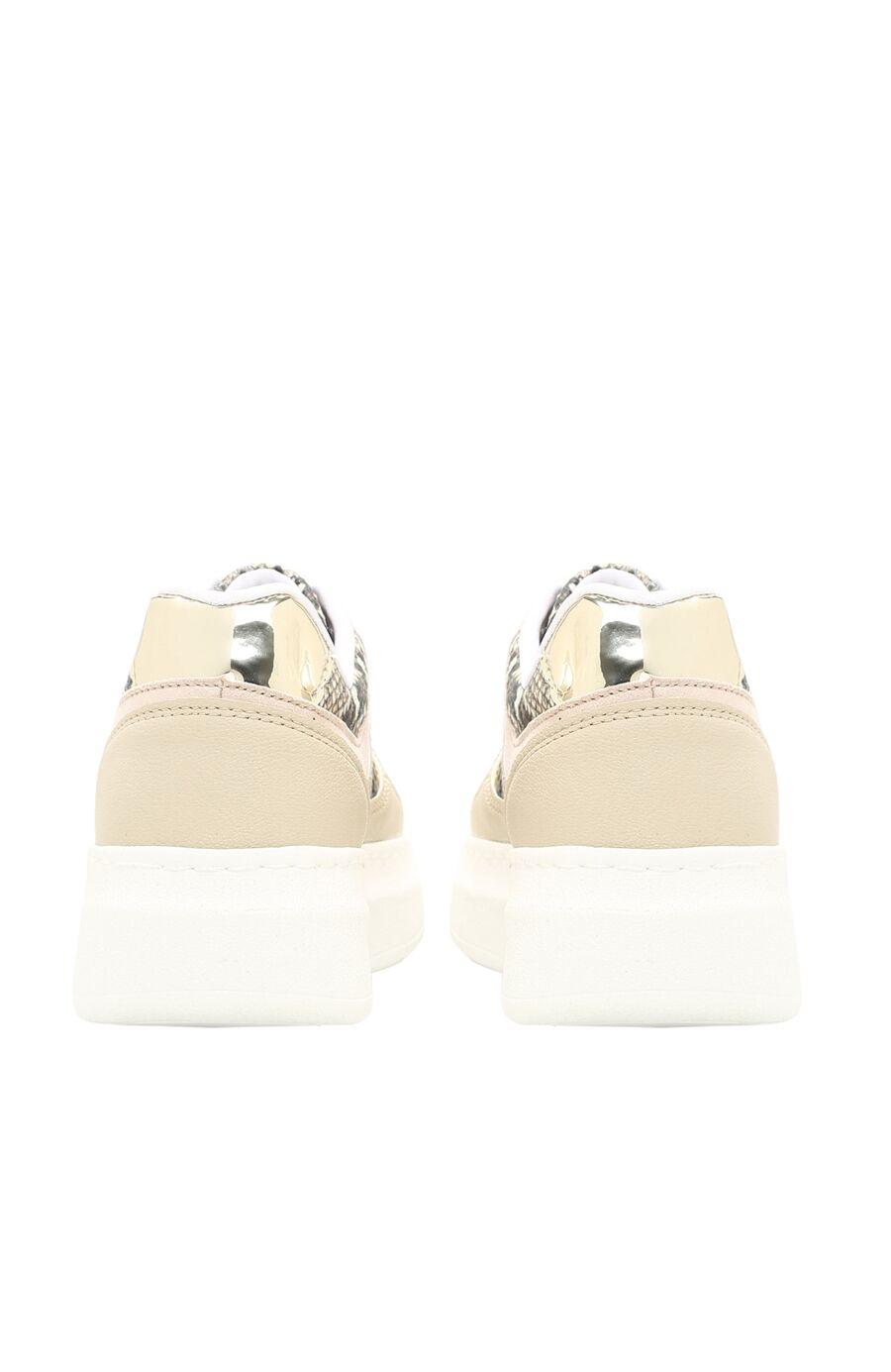 Yılan Baskı Bej Kadın Sneaker