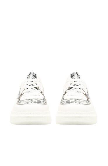 Yılan Baskı Beyaz Kadın Sneaker