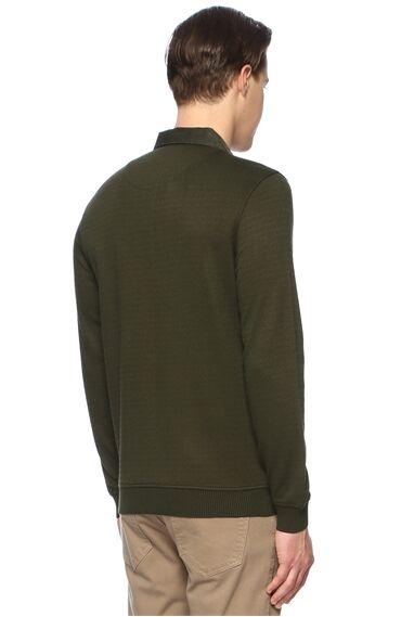 Jakarlı Slim Fit Haki Sweatshirt