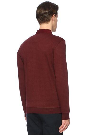 Jakarlı Slim Fit Bordo Sweatshirt