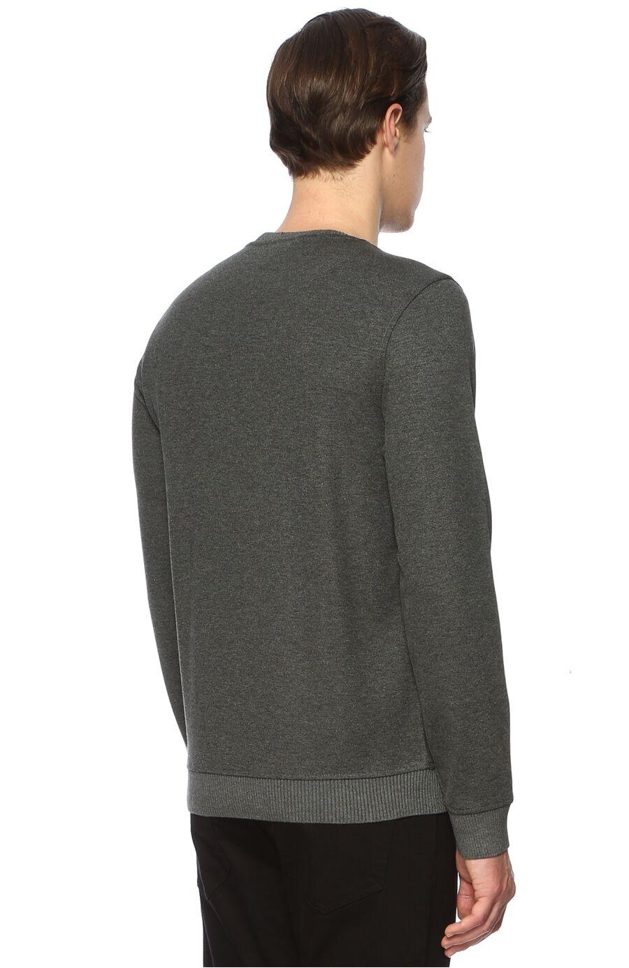 Slim Fit Gri Melanj Sweatshirt