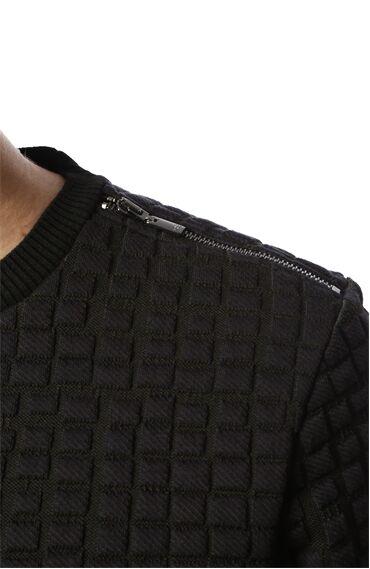 Jakarlı Slim Fit Siyah Sweatshirt