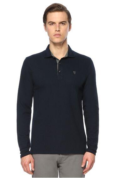Jakarlı Slim Fit Lacivert Sweatshirt