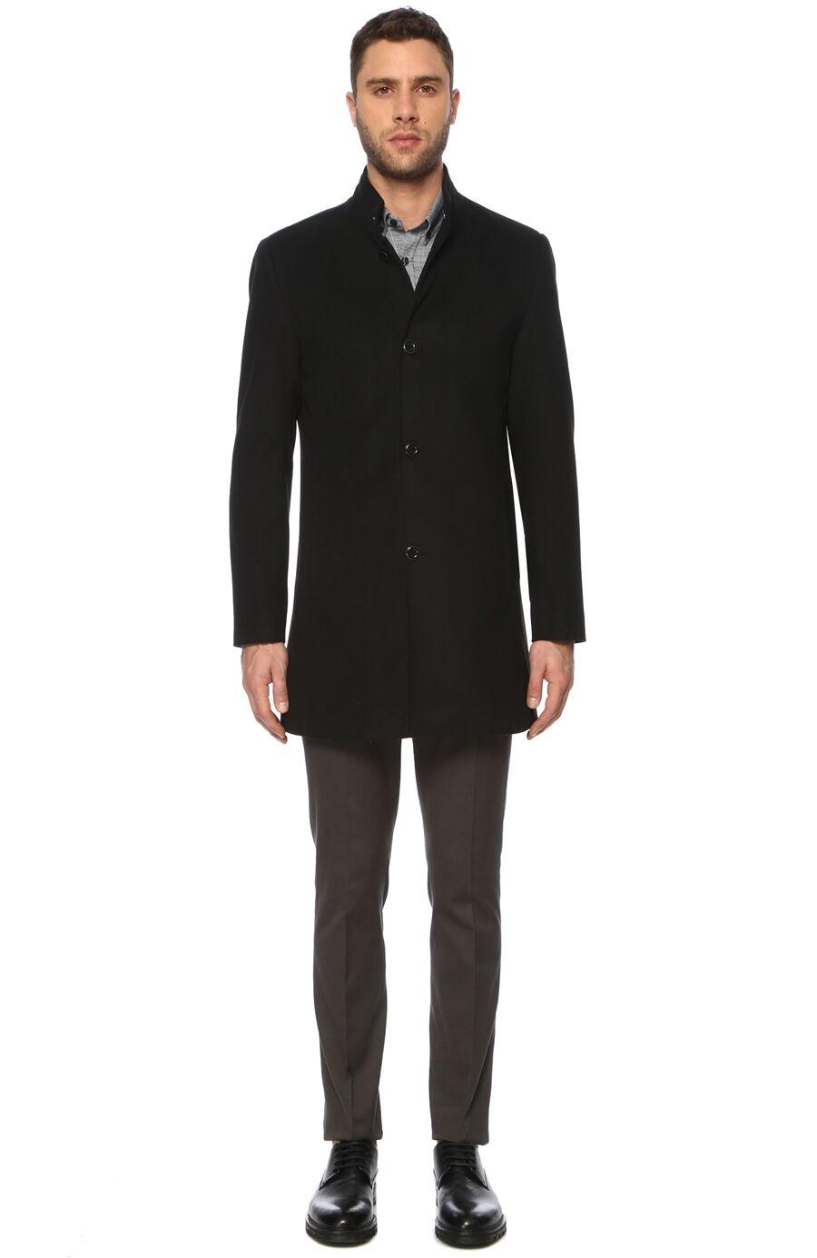 Slim Fit Siyah Palto