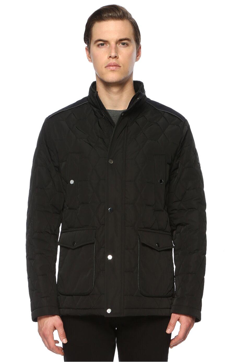 Kapitoneli Slim Fit Siyah Coat Ceket