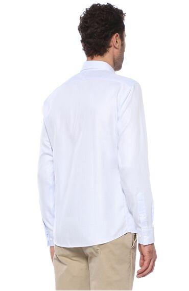 Jakarlı Slim Fit Beyaz Mavi Gömlek