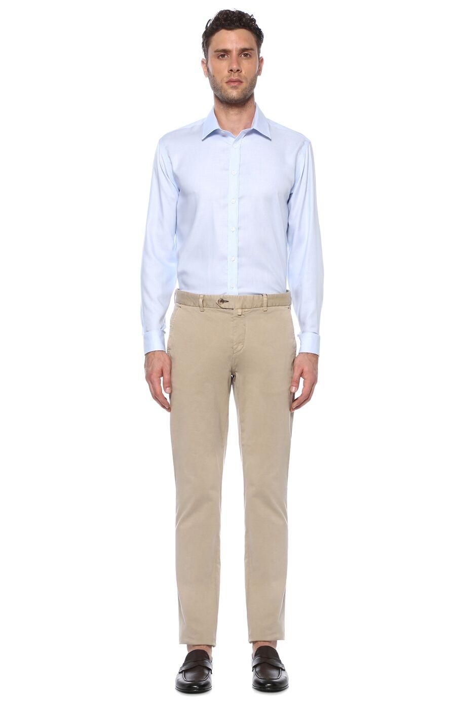 Jakarlı Regular Fit Beyaz Mavi Gömlek