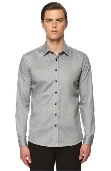 Jakarlı Slim Fit Gri Beyaz Gömlek